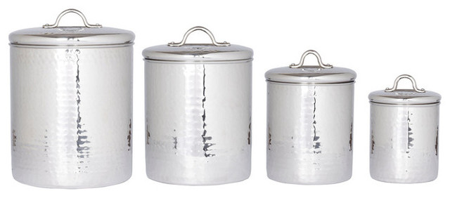 Delightful 4 Piece Hammered Stainless Steel Canister Set With Fresh Seal Lids Modern  Kitchen Canisters