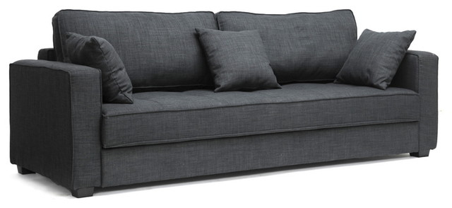 Keeney Dark Gray Linen Modern Sofa Bed