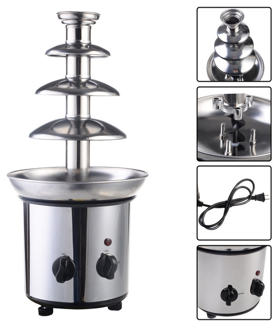 Chocolate Fondue Fountain 4 Tiers Commercial Stainless Steel Hot.