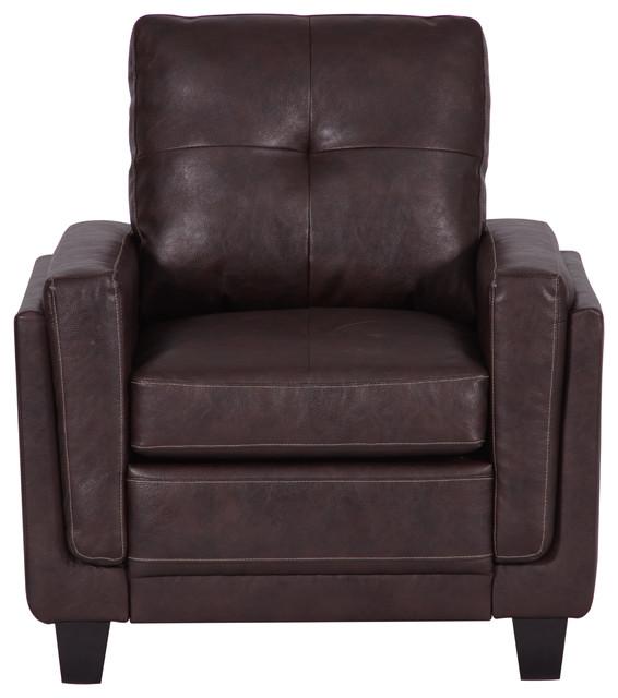 Sasha Leather Chair Chocolate Brown Transitional