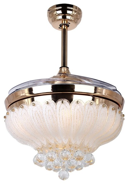Crystal led ceiling fan with foldable blades gold contemporary crystal led ceiling fan with foldable blades gold aloadofball Image collections