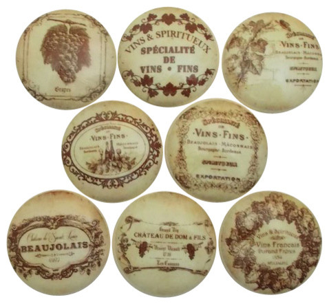 French Vineyard Wine Label Cabinet Knobs, 8-Piece Set - Traditional - Cabinet And Drawer Knobs ...
