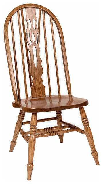 Amish Oak Windsor Fiddleback Dining Chair Fruitwood