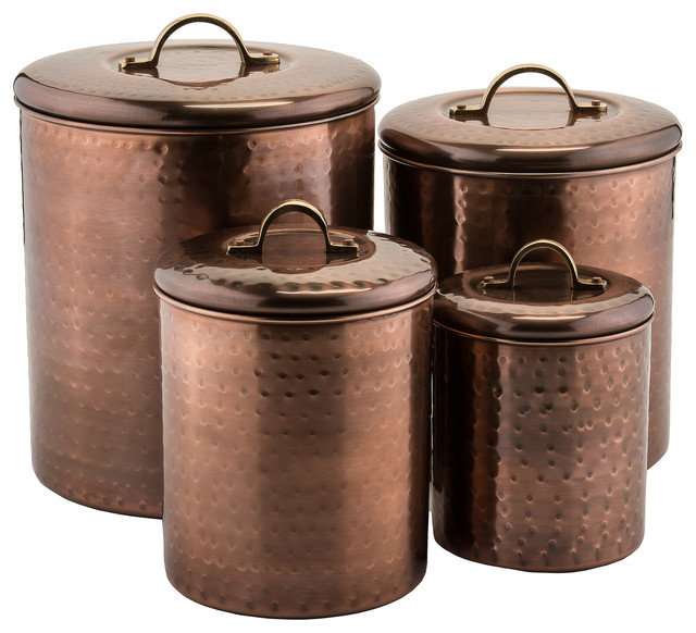 Charmant 4 Piece Hammered Copper Canister Set