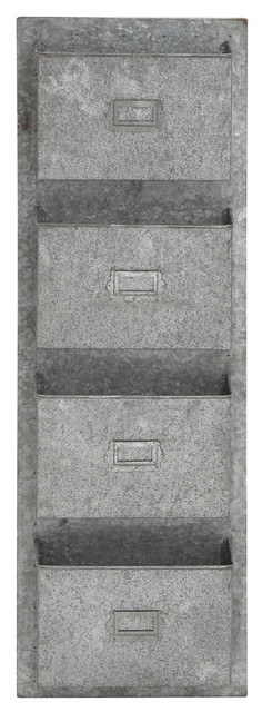 Metal Wall Pocket 4-tiered metal galvanize wall pocket with letterbox design