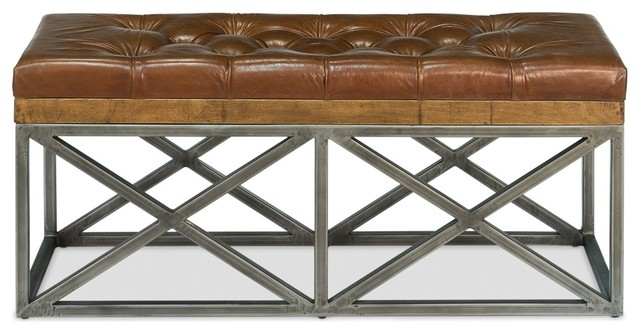 Bench, Double, Brown Leather Cushion.