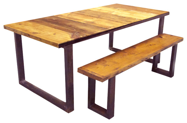 Industrial Dining Table and Bench - Industrial - Dining ...