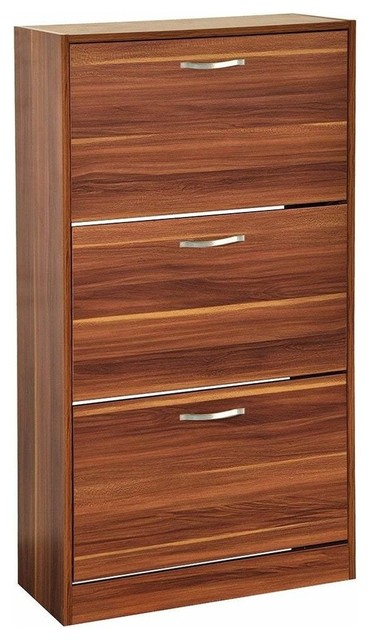 Modern Stylish Shoe Storage Cabinet, MDF With 3-Drawer for Space Saving, Walnut