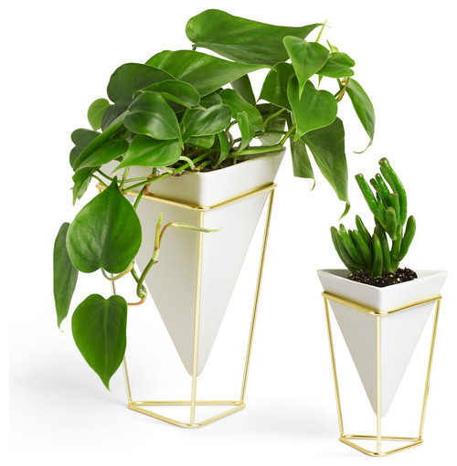 Pair of Trigg Desk Vessels, White and Brass Geometric home decor