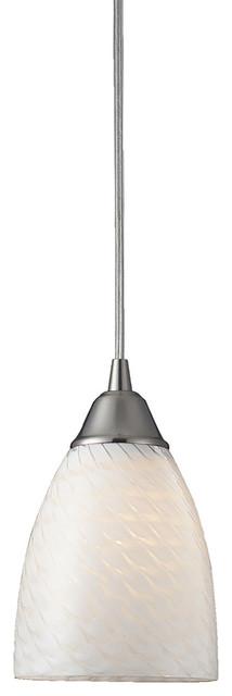 Arco Baleno 1-Light Pendant, Satin Nickel And White Swirl Glass.