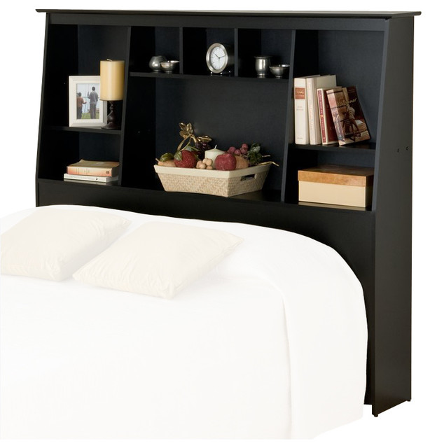 Prepac Slant Back Tall Full Queen Bookcase Headboard In Black Transitional Headboards