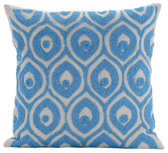 Dream Palace Art Silk Blue Decorative Pillows Cover Contemporary Ter Cushions By The Homecentric