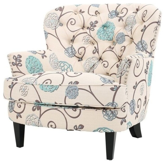 Alfred Floral Upholstered Club Chair, White And Blue