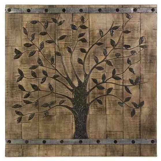 Wood Wall Art Panels tree of life wood wall panel - rustic - wall accents -shopladder