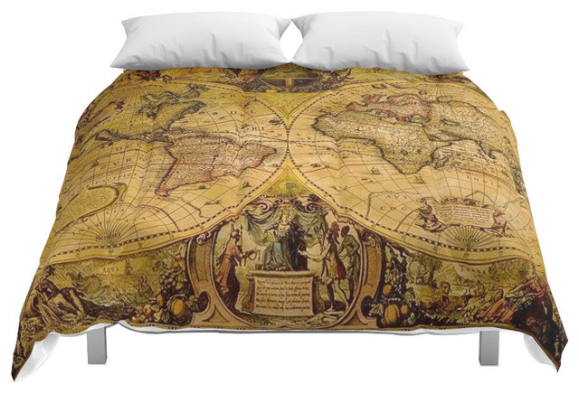 Society6 VintaGe Map Comforter, King, 104x88