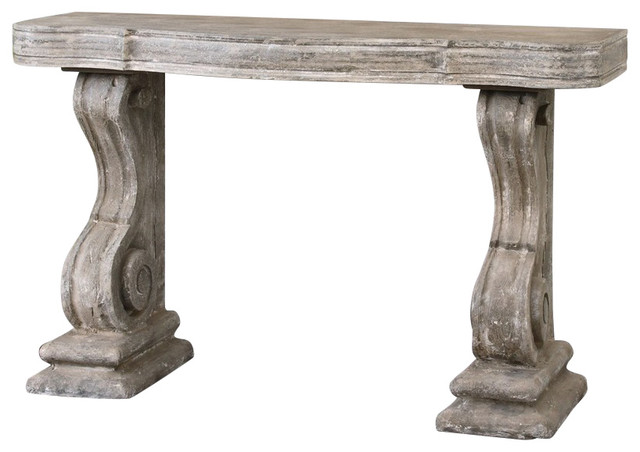 Uttermost 24409 partemio distressed console table rustic console tables by premier home decor for Images of couch for hall rennes