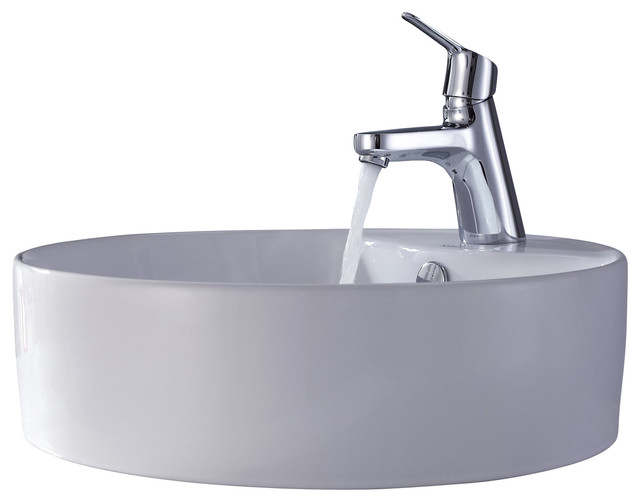 Kraus White Round Ceramic Sink and Ferus Basin Faucet Chrome - Modern ...