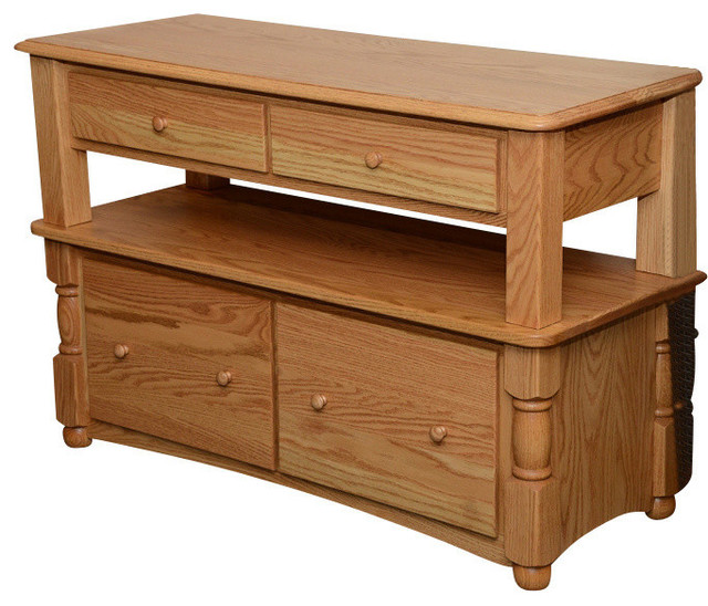 Country Trend Two Tier Solid Oak Lateral Filing Cabinet, Chesnut