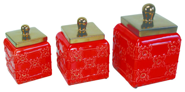 Ceramic Canisters, Red, Set of 3 - Traditional - Kitchen Canisters And Jars - by Drew Derose Designs