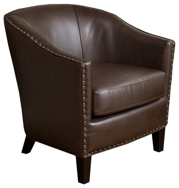 GDF Studio Carlton Tub Design Club Chair With Nailheads Accents, Brown Leather