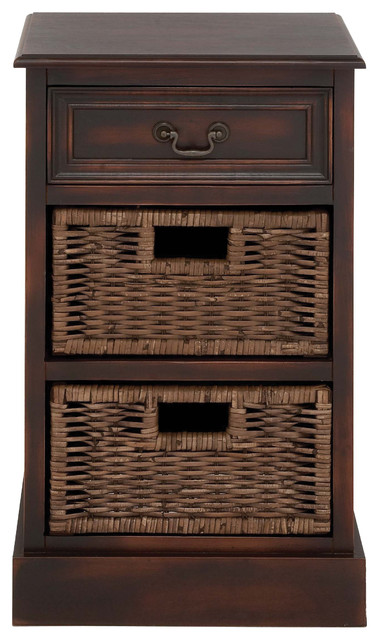 Uma Enterprises Wood Cabinet Stand with Wicker Baset Drawers - Storage Cabinets | Houzz