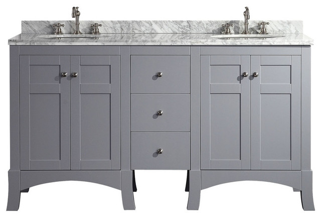 "Eviva New York 60"" Double Bathroom Vanity, White Marble ..."