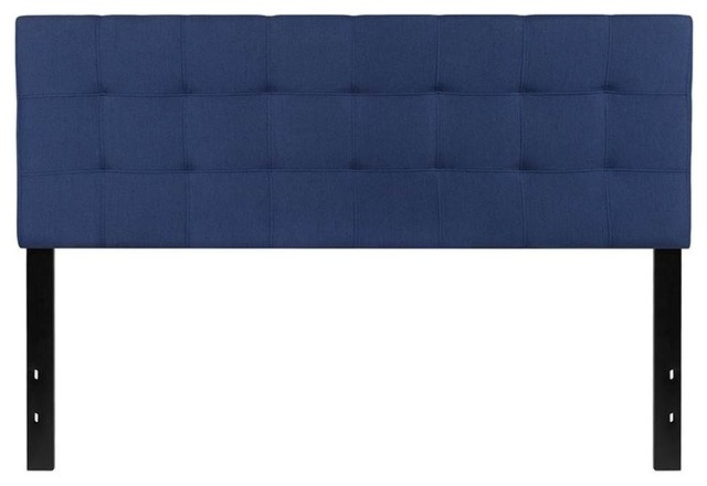 Tufted Upholstered Queen Headboard, Navy.