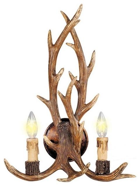 Resin Deer Horn Antler Wall Sconce 2 Lights