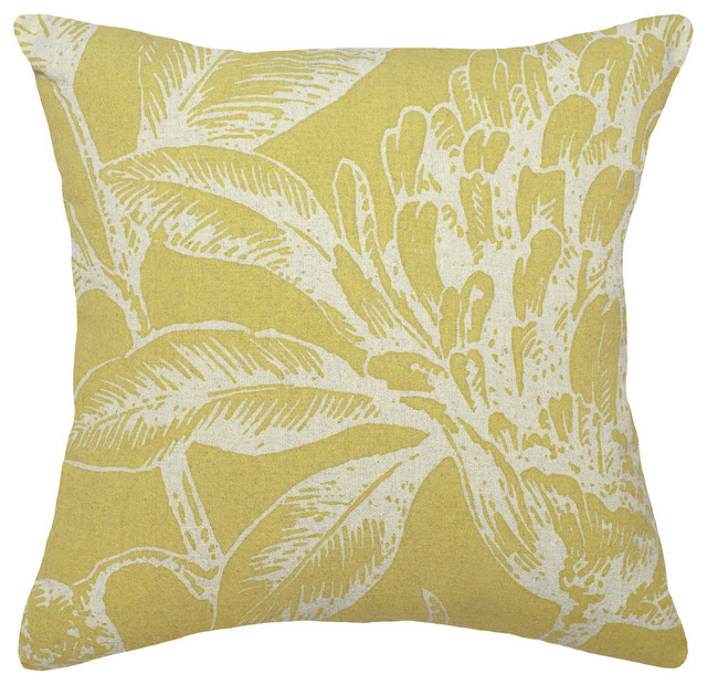 Floral Printed Linen Pillow With Feather-Down Insert - Contemporary - Decorative Pillows - by ...