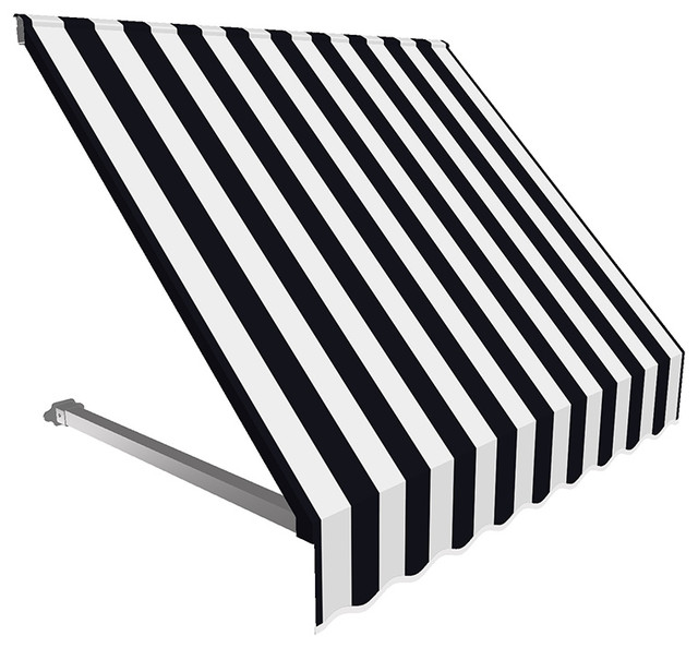 4&x27; Dallas Retro Window/entry Awning, Black/white.