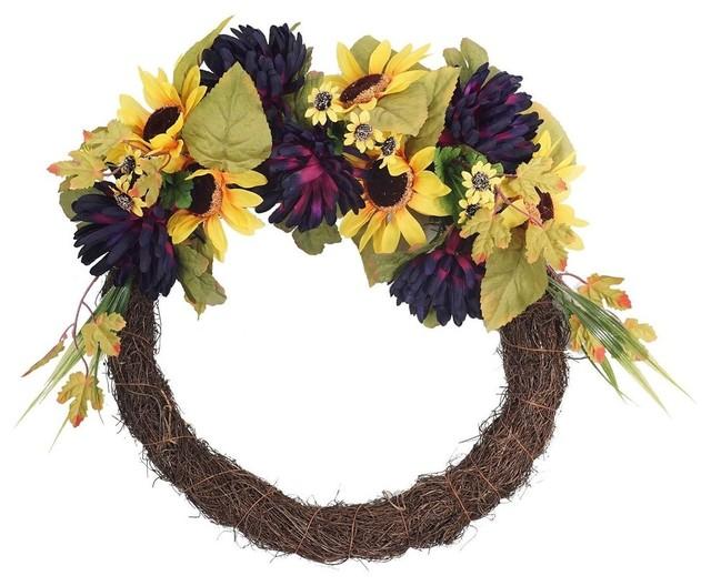 "Decorative Artificial Natural Looking 20/"" Lavender Floral  Door Wreath Plants"
