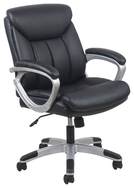 Essentials By Ofm Leather Executive Office Chair With Arms, Black/silver.