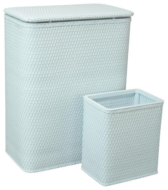 Redmon Chelsea Wicker Hamper And Wastebasket.