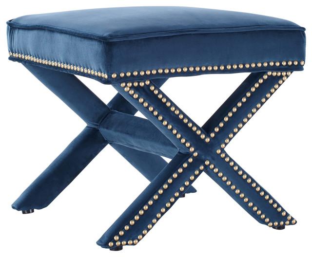 Super Tov Furniture Reese Velvet Ottoman Navy Cjindustries Chair Design For Home Cjindustriesco