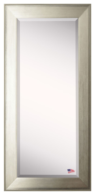 "American Made Rayne Brushed Silver Extra Tall Floor Mirror, 31.5""x2""x72""."
