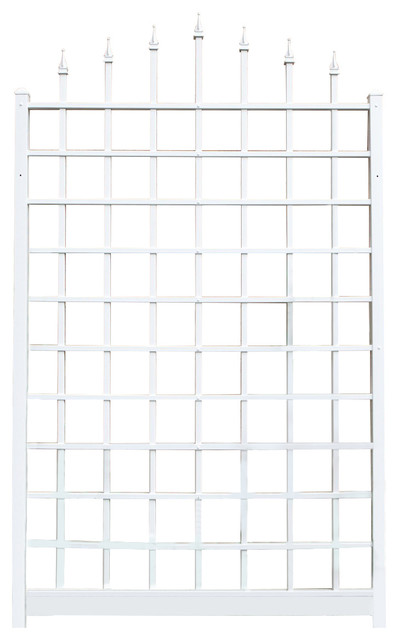 8&x27; Wall Mounted Trellis In White Vinyl, Made In Usa.