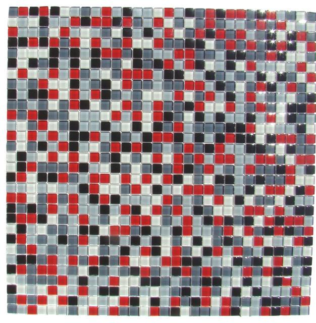 12 87 Quot X12 87 Quot Burst Red White Black Gray Mosaic Backsplash