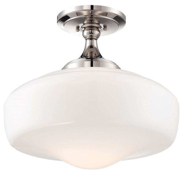 Minka Lavery 2259-613 Schoolhouse Semi Flush Mount In Polished Nickel.