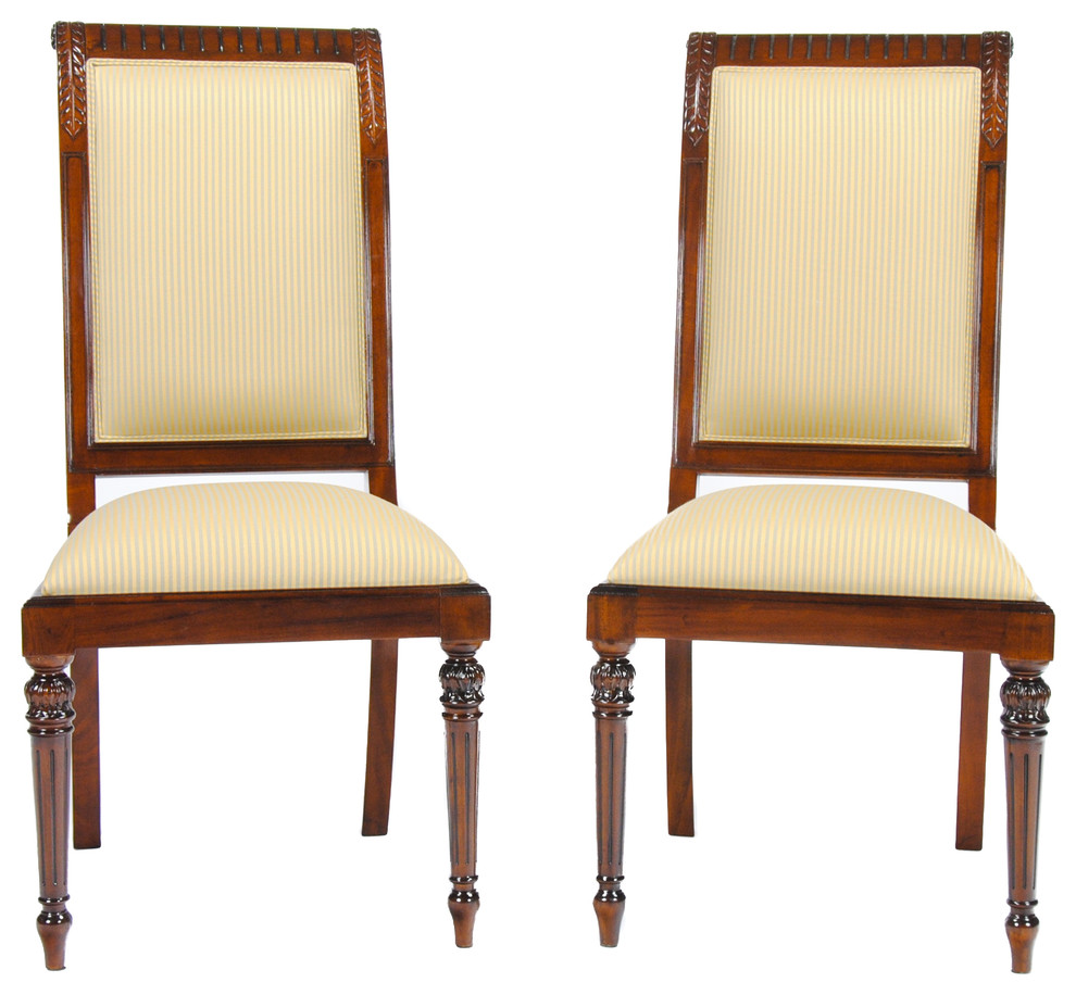 Tall Back Upholstered Side Chairs Set Of 2 Victorian
