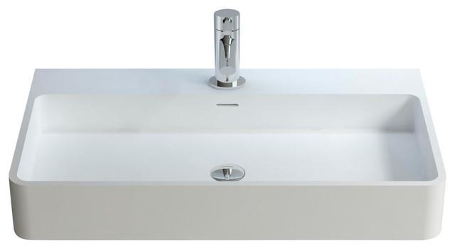 Adm Rectangular Countertop Sink, Glossy White, 31x18.