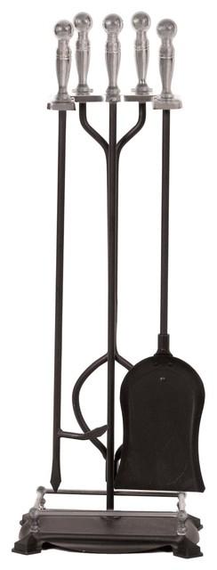 Panacea 15008 Fireplace Tool set, 5-Piece, Nickel-Black ...