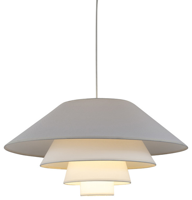 Swallow 4 Pendant Light In Copper Duotrans Shade, White Linen Shade.