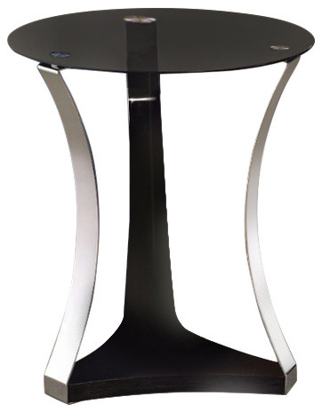 End Table, Black Glass Chrome.
