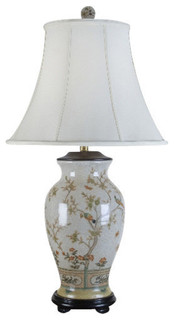 Porcelain Table Lamp With Bird Scene Traditional Table
