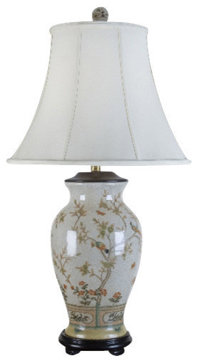 Porcelain Table Lamp With Bird Scene.