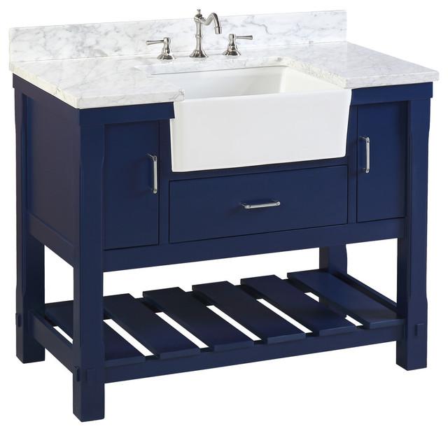 """Charlotte Bathroom Vanity, Royal Blue, 42"""", Carrara Marble Top, Single Sink"""