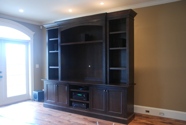 custom tv wall unit traditional