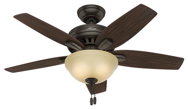 Hunter 42 Newsome Bowl Light Premier Bronze Ceiling Fan With Light.