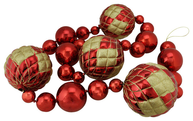 6 oversized shiny red with gold glitter shatterproof christmas ball garland