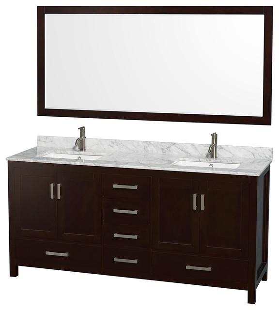 "Sheffield 72"" Espresso Double Vanity, Carrera Marble Top, Undermount Square Sink."